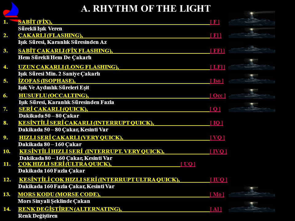 A. RHYTHM OF THE LIGHT SABİT (FİX), [ F ] Sürekli Işık Veren